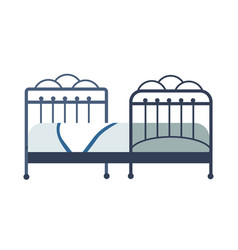 Bed bedroom furniture isolated object blanket and vector