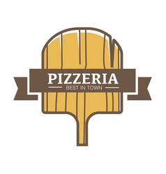 best pizzeria in town promotional logotype with vector image