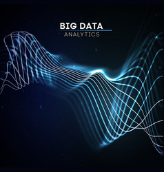 big data wave on dark background futuristic cyber vector image