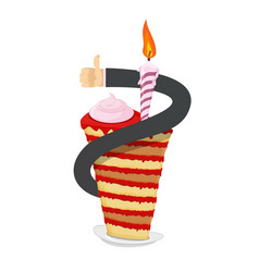 birthday piece of cake hand thumb up great sweets vector image