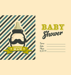 Boy baby shower invite greeting card vector