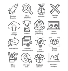 Business management icons in line style Pack 28 vector image