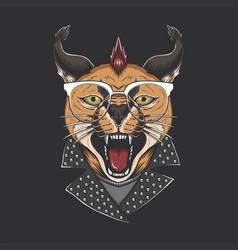 Caracal cat punk head vector