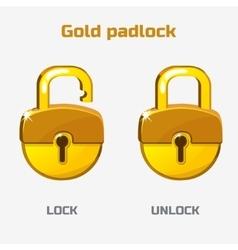 Cartoon gold padlock lock and unlock vector