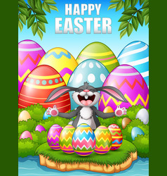 Cartoon rabbit laughing with five decorated easter vector