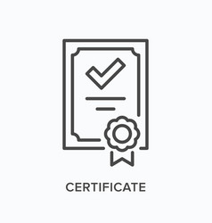 Certificate flat line icon outline vector
