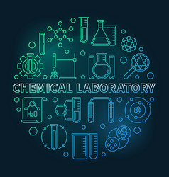 chemical laboratory colored round outline vector image