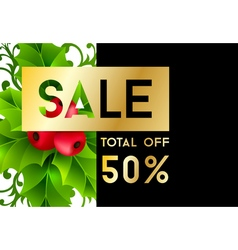 Christmas sale banner with holly leaves vector