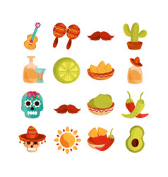 cinco de mayo decoration event mexican icons set vector image