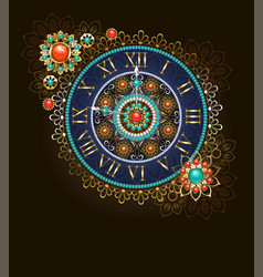 Clock with beads vector