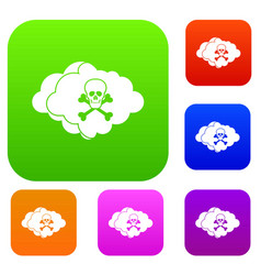 Cloud with skull and bones set collection vector