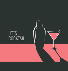 Cocktail party banner shaker with cocktail glass vector