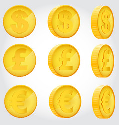 Coin in different angles vector