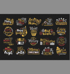 collection christmas handwritten lettering vector image