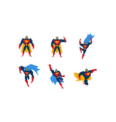 collection of superheroes superman character men vector image