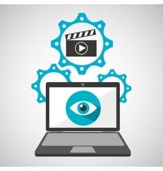 Computer security movie social network concept vector