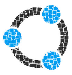 cooperation mosaic of squares and circles vector image