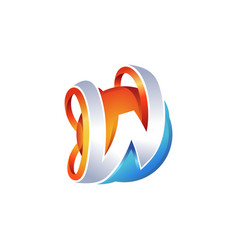 creative abstract letter w logo vector image