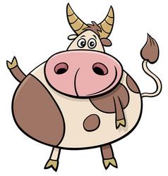 cute bull farm animal comic character cartoon vector image