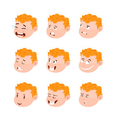 Cute kid avatars emotions vector