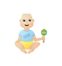 cute smiling little boy sitting with a rattle vector image