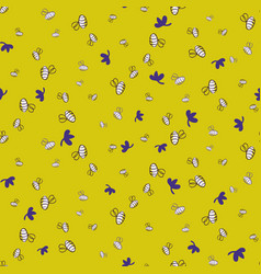 doodle bees seamless pattern on yellow vector image
