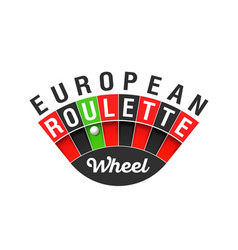 European roulette wheel sign vector