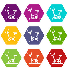 exercise bike icon set color hexahedron vector image
