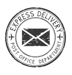 Express delivery black round postmark scratched vector