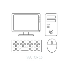 Flat line computer set icon Cartoon style vector