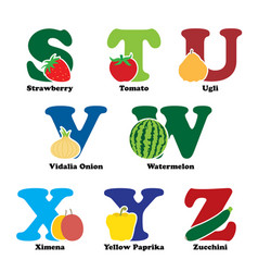 fruit and vegetable alphabet vector image