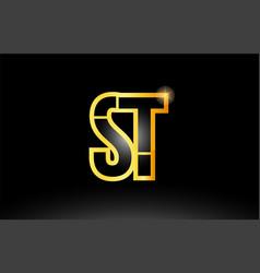 Gold black alphabet letter st s t logo vector