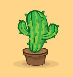 Green cactus in pot on beige background vector