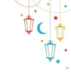Greeting card for ramadan kareem with lamps vector
