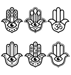 hamsa hand with evil eye simple minimalist design vector image