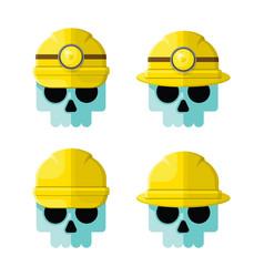 Hard hat skulls flat icon set vector
