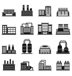 Industrial building icons set simple style vector