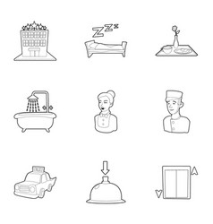 inn icons set outline style vector image
