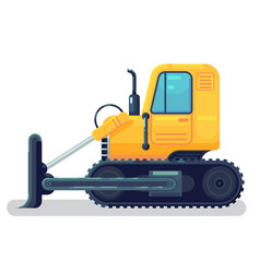 isolated bulldozer icon flat cartoon style vector image