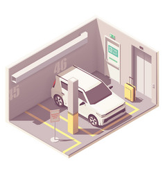 Isometric underground car parking garage vector