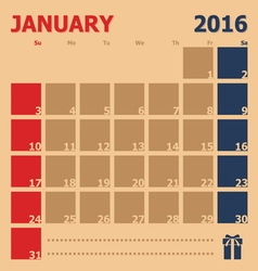 January 2016 monthly calendar template vector image