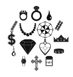 jewelry items icons set simple style vector image