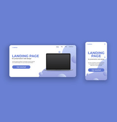laptop mockup on landing page for computer and vector image