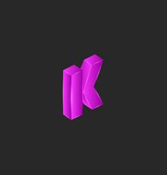 latin letter k logo modern isometric shape pop vector image