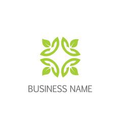 leaf ornament square logo vector image