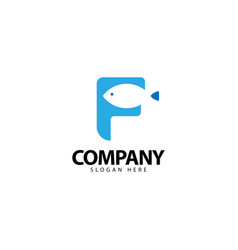 Letter f logo with fish icon vector