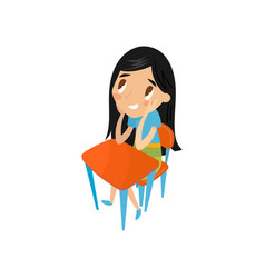 little schoolgirl sitting at the desk preschool vector image