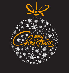merry christmas handwritten lettering golden text vector image