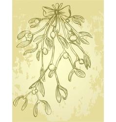 Mistletoe Christmas grungy card vector image