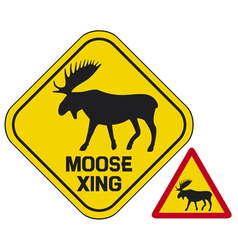 moose crossing road sign vector image